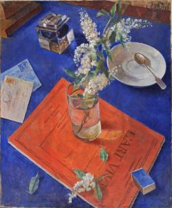 K.S.Petrov-Vodkin. Bird cherry in a glass. 1932. Oil on canvas. 73x60 (in frame)  -